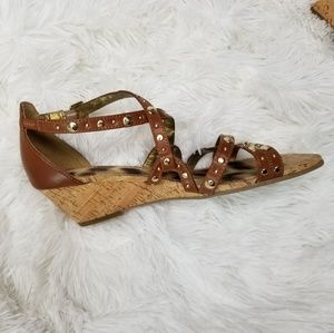 GUESS Brown leather Wedge Sandals wGold Studs